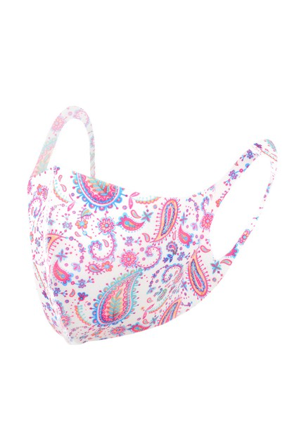 Pink Paisley Print Fashion Face Mask - orangeshine.com