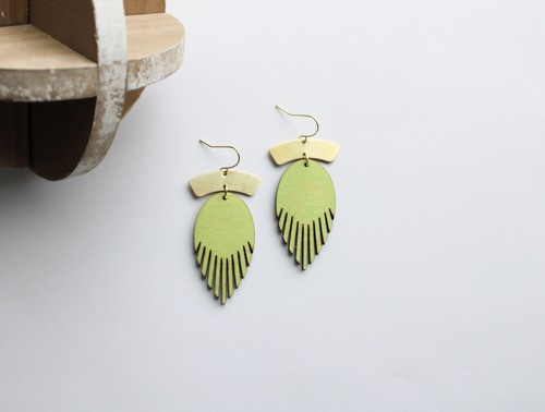 Lime Green Brass and Wood Earrings - orangeshine.com