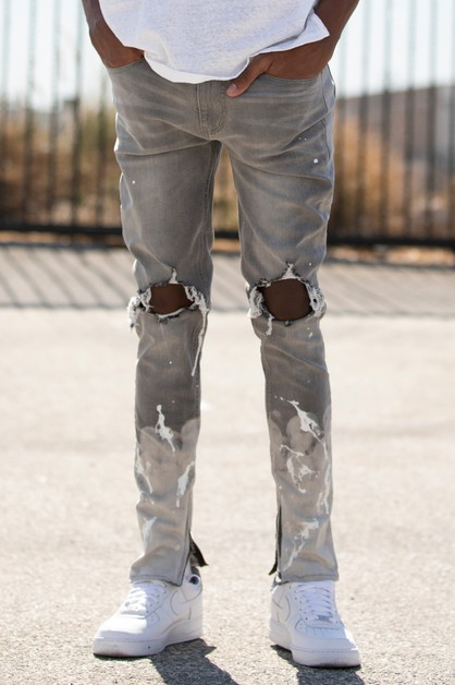 PAINT SPLASH ANKLE ZIP JEANS - orangeshine.com