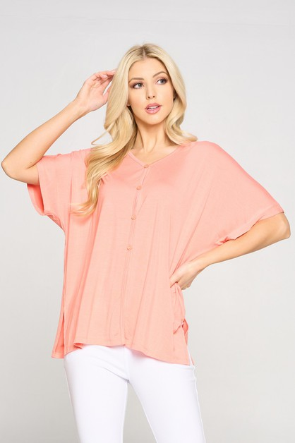Simple Button Up Short Sleeve Top - orangeshine.com