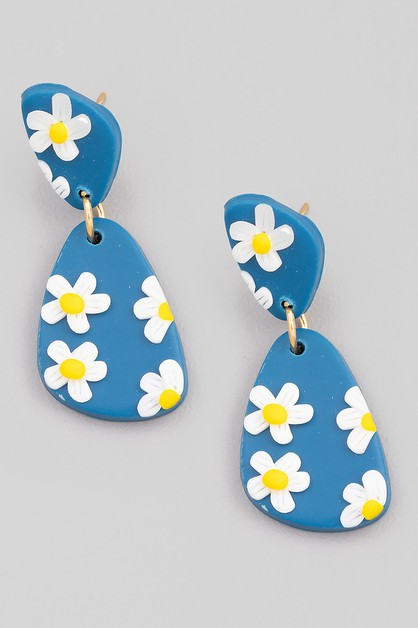 Geo Shape Flower Print Drop Earrings - orangeshine.com