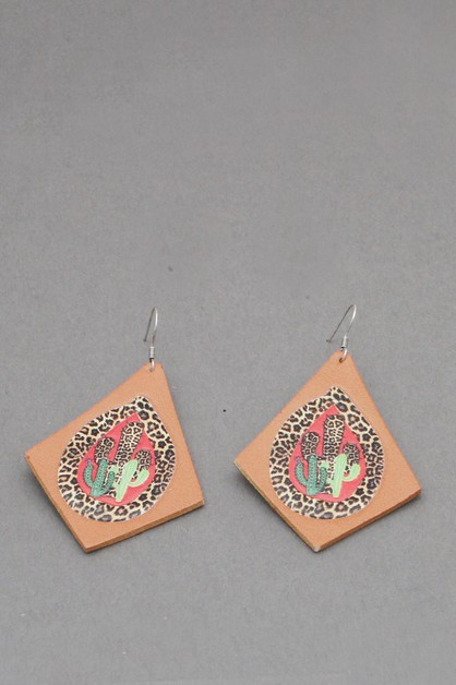 LEATHER CACTUS PRINT  DANGLE EARRING - orangeshine.com