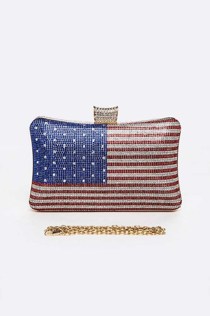 USA Flag Rhinestone Pave Box Clutch - orangeshine.com