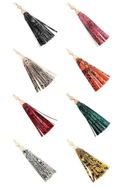SNAKE SKIN LEATHER TASSEL NECKLACE - orangeshine.com