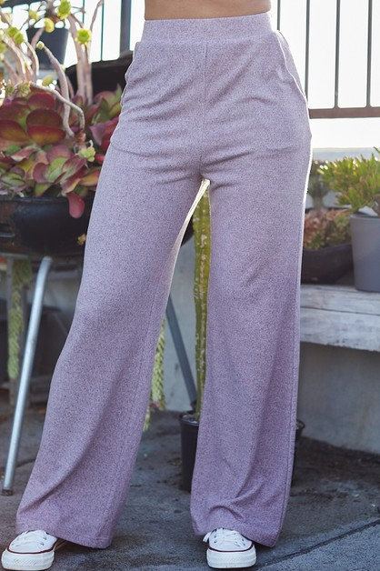 Side Pocket Solid Knit Pants - orangeshine.com