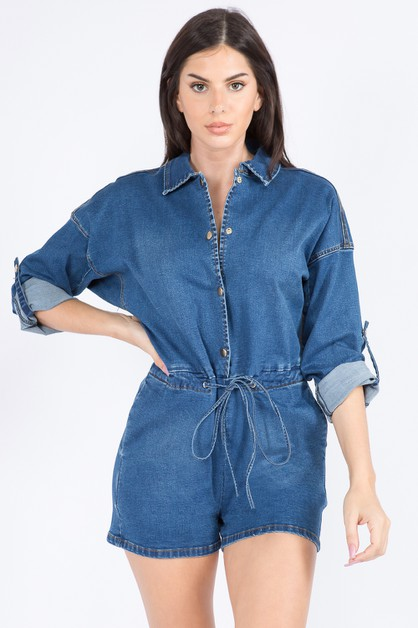 DENIM ROMPERS WITH CHAINED BACK - orangeshine.com