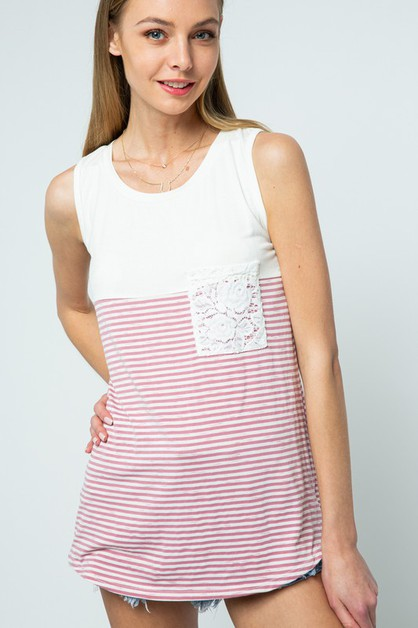 LACE POCKET STRIPED TOP - orangeshine.com