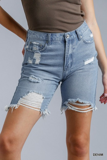 Distressed Detail Denim Shorts - orangeshine.com