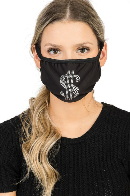 Dollar sign Embellished Face Mask - orangeshine.com