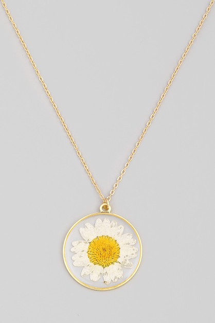 Circle Disc Flower Pendant Necklace - orangeshine.com
