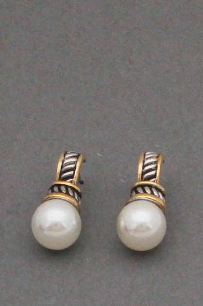 CABLE METAL WITH PEARL  EARRINGS - orangeshine.com