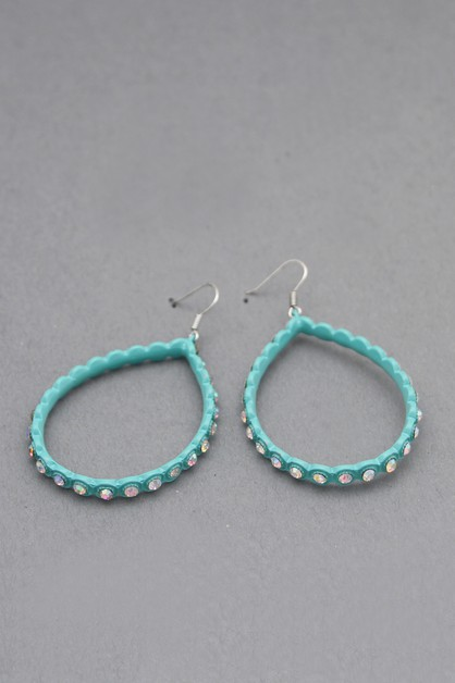 STONE DANGLE HOOP EARRINGS - orangeshine.com