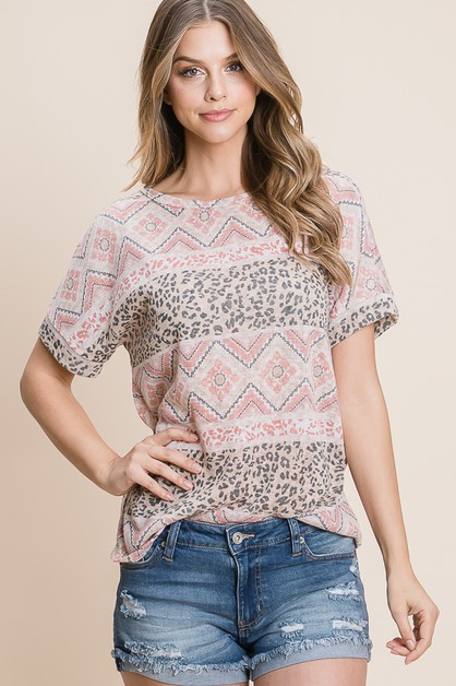 LOOSE FIT BOHEMIAN PRINT TOP - orangeshine.com