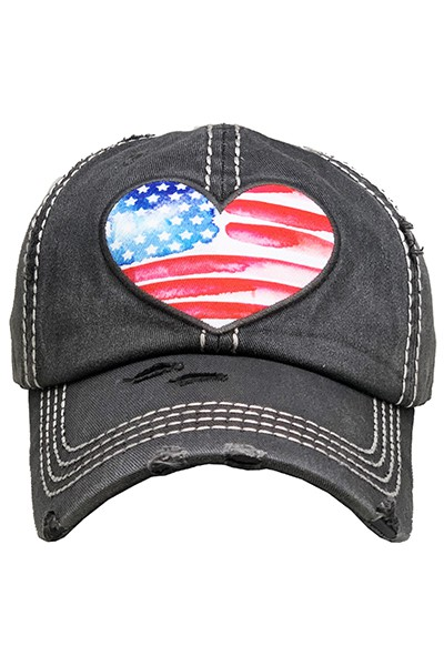 American Flag Heart Hat - orangeshine.com