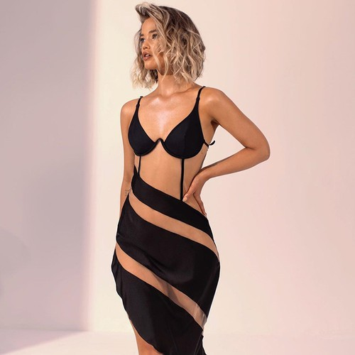 Sexy See-Through Stripe Dress - orangeshine.com