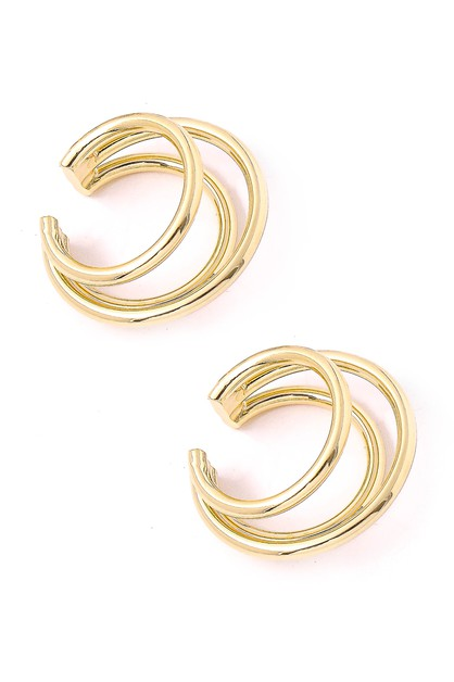 Triple Stack Hoop Ear Cuff Earrings - orangeshine.com