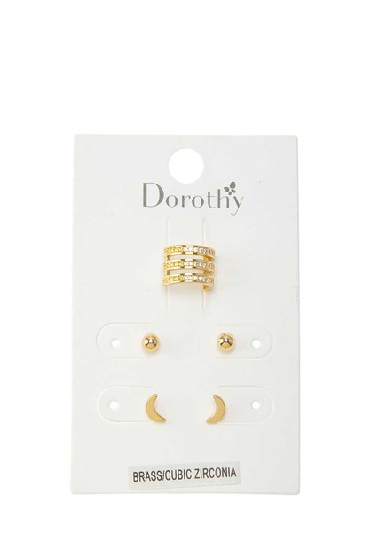 Cubic Ear Cuff and Crescent Earring - orangeshine.com