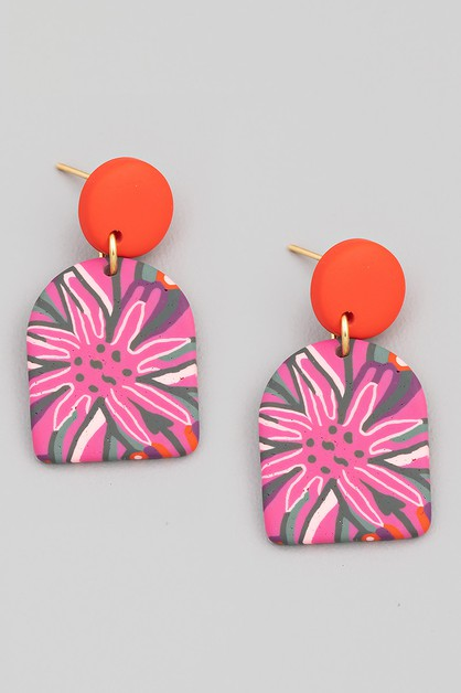 Floral Semi Circle Drop Earrings - orangeshine.com