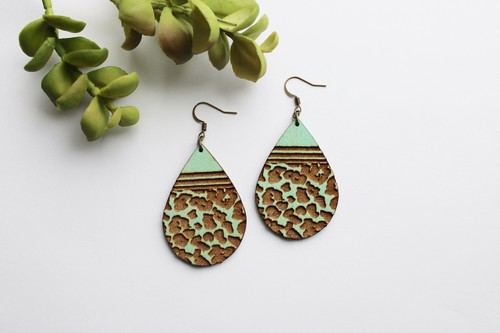 Teal Brown Wood Leopard Teardrops - orangeshine.com