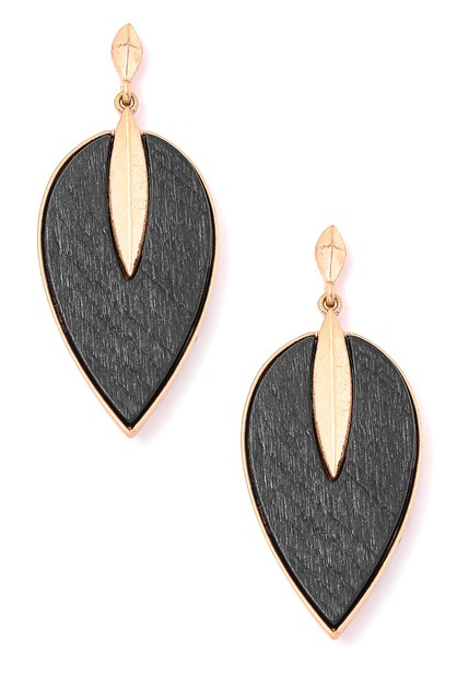 Oval Wood Dangle Drop Earrings - orangeshine.com