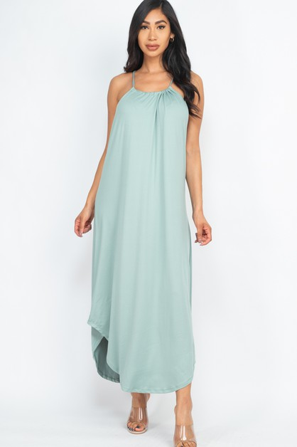 Adjustable Halter Back Maxi Dress - orangeshine.com