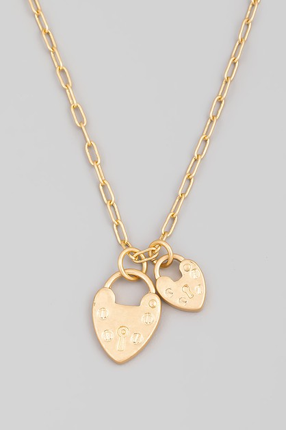 Dainty Heartlock Charm Necklace - orangeshine.com