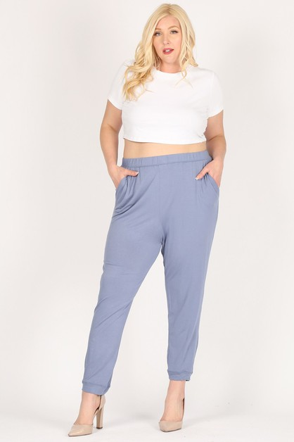 High Waist Plus relaxed jogger pants - orangeshine.com