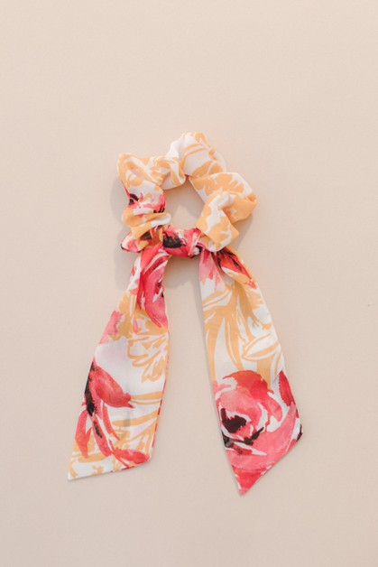 Orange Floral Hair Tie - orangeshine.com