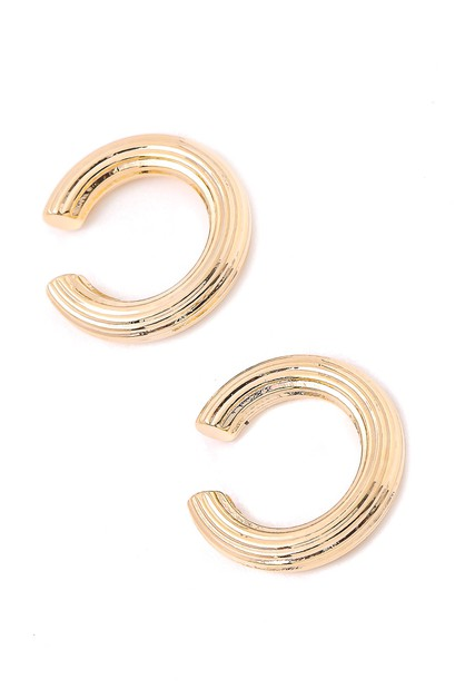 Mini Engraved Hoop Ear Cuff Earrings - orangeshine.com