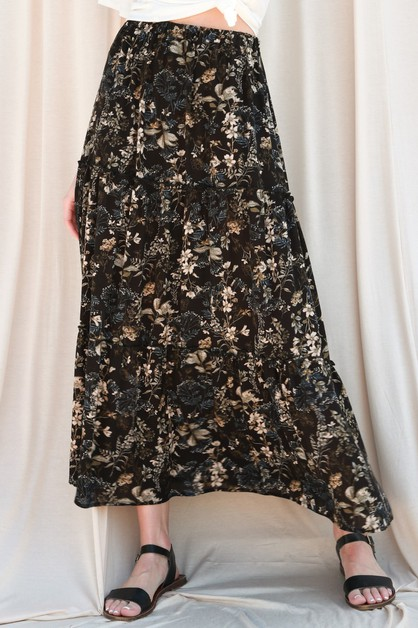 Floral Tiered Maxi Skirt - orangeshine.com