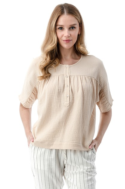 Pleated Chest Button Blouse - orangeshine.com
