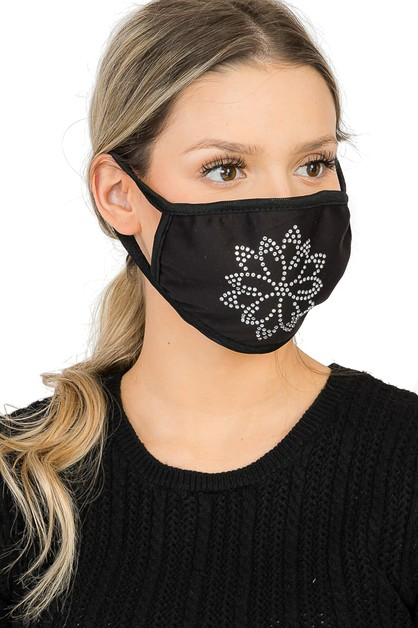 Mandala Flower Embellished Face Mask - orangeshine.com
