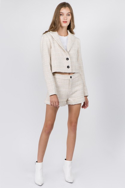 Tweed Cropped Jacket - orangeshine.com