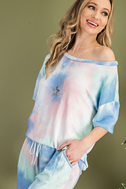 WIDE ROUND NECK TIE DYE LOUNGE TOP - orangeshine.com