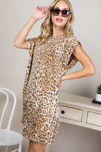 LEOPARD PRINTED SHORT DRESS - orangeshine.com