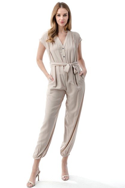 V-Neck Belted Jogger Jumpsuit - orangeshine.com