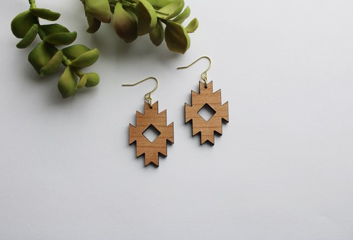 Geometric Aztec Dangle Wood Earrings - orangeshine.com