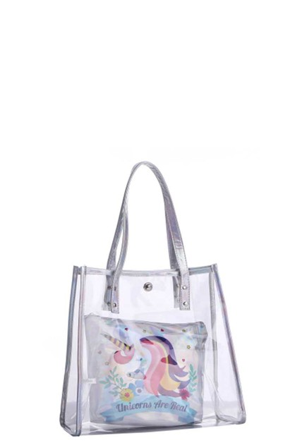 CLEAR TOTE BAG WITH UNICORN POUCH - orangeshine.com