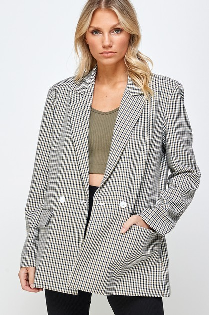 OVERSIZED PLAID BLAZER - orangeshine.com