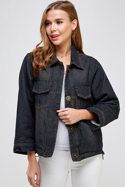 Fleece Lined Denim Jacket - orangeshine.com