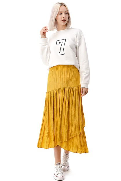 Elastic Waist Layered Pleated Skirt - orangeshine.com