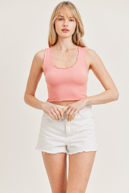SLEEVELESS MERROW EDGE CROP TOP - orangeshine.com