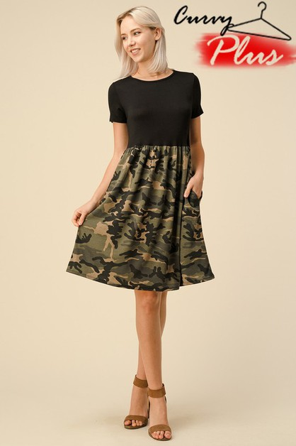 SOLID N CAMOUFLAGE PRINT SWING DRESS - orangeshine.com