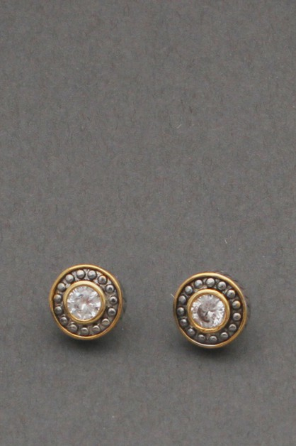 ROUND METAL WITH STONE POST  EARRING - orangeshine.com