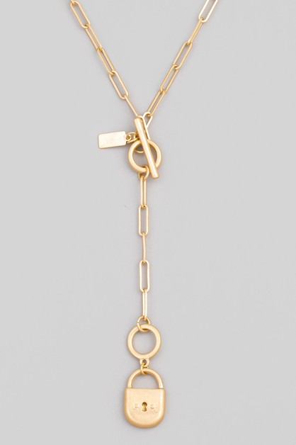 Padlock Toggle Chain Necklace - orangeshine.com
