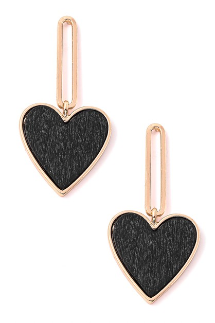 Paperclip Wood Heart Dangle Earrings - orangeshine.com