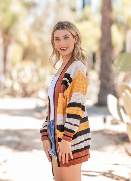 Striped Oversize Cardigan - orangeshine.com
