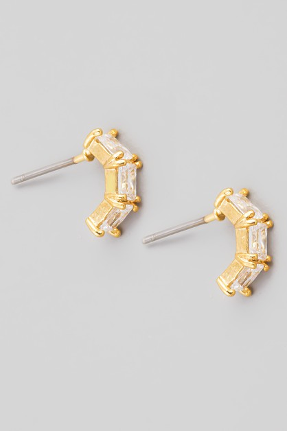 Mini Curved CZ Stud Earrings - orangeshine.com