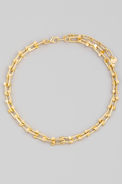 U Shape Chain Link Necklace - orangeshine.com