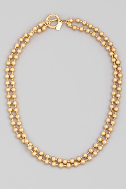 Toggle Chain Ball Beaded Necklace - orangeshine.com